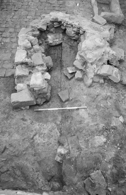 Craignethan Castle Excavations 1984 Frame 33 - Kiln, showing basal deposits partially removed - from east