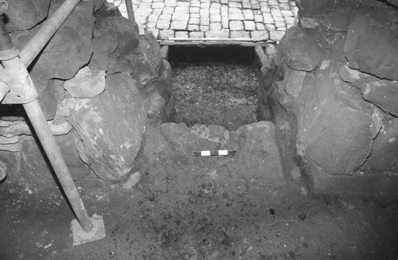 Craignethan Castle Excavations 1984 Frame 8 - The fireplace and ash-pit in south wall of tower basement - from south