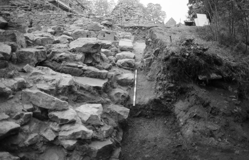 Craignethan Castle Excavations 1984 Frame 33 - View along outside face of east wall of tower - from south