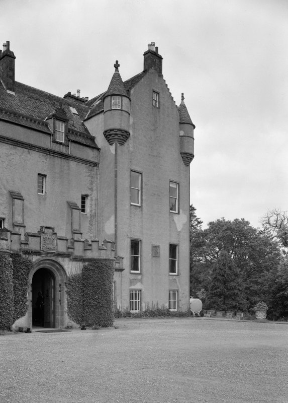 View of Gordon Tower, Fyvie Castle from south east.