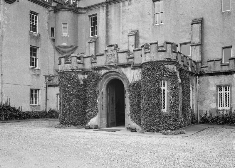 View of modern porch, Fyvie Castle from north east.