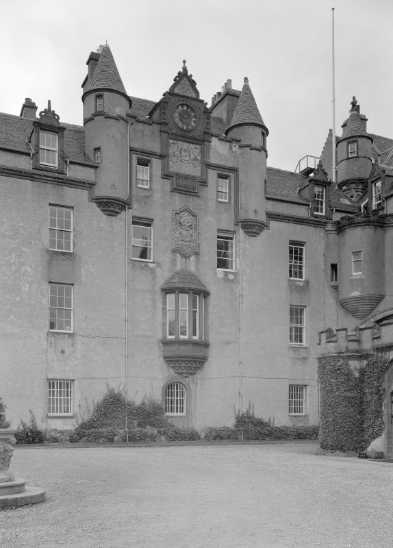 General view of 1889-1890 additions to old entrance hall, Fyvie Castle, from south east.