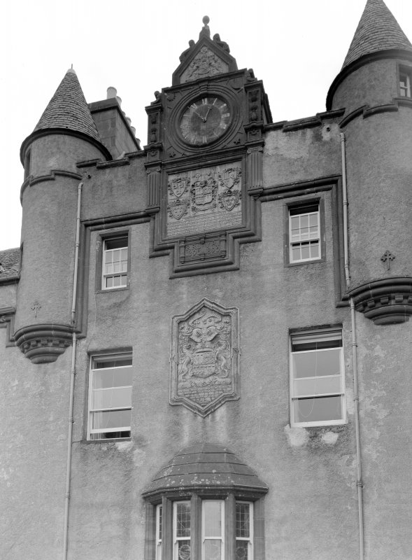 Detail of clock and additions to old entrance hall, Fyvie Castle from east.