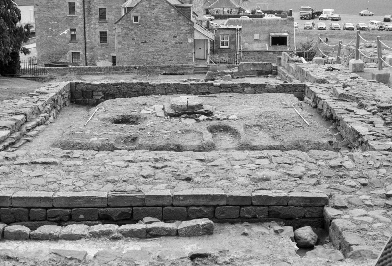 Jedburgh Abbey excavation archive Area 1: Room 3 after removal of 1930s' backfill, showing probable post-Reformation graves, aligned N-S. From N.