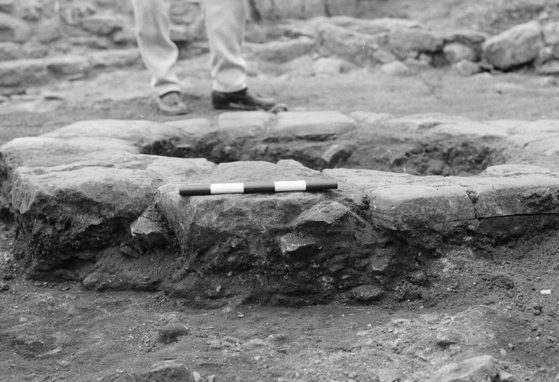 Jedburgh Abbey excavation archive Frame 5: Area 1: Trench J: Hearth 204 and section across post-Reformation floor 205. From S.
