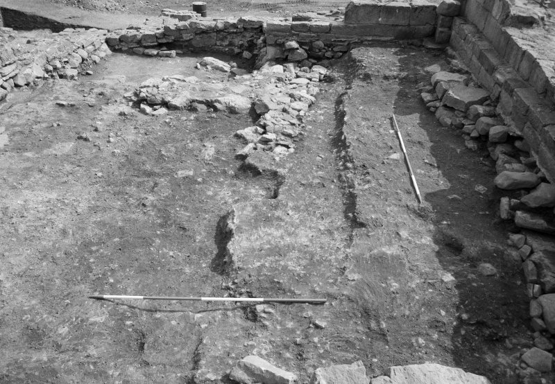 Jedburgh Abbey excavation archive Frame 26: Area 1: Room 4 after removal of wall 149, showing 207, 847 and 215/848. From N.