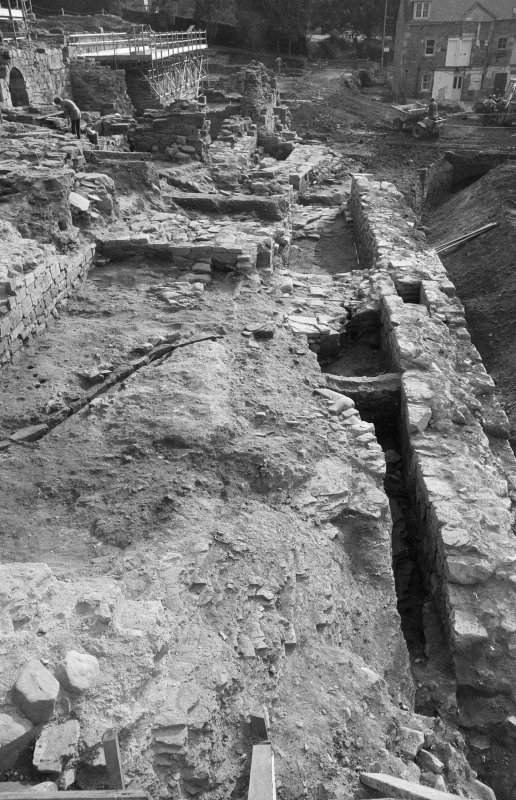 Jedburgh Abbey excavation archive Frame 18: Area 2: Trenches F and G. General view. From W.