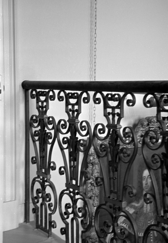 Interior view of Cullen House showing detail of main staircase balusters.
