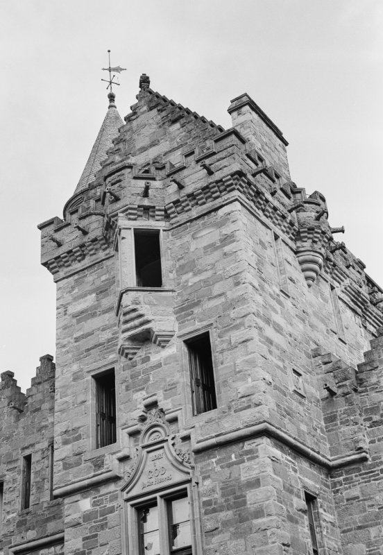 View of upper part of entrance tower, St Mary's Tower, Birnam.