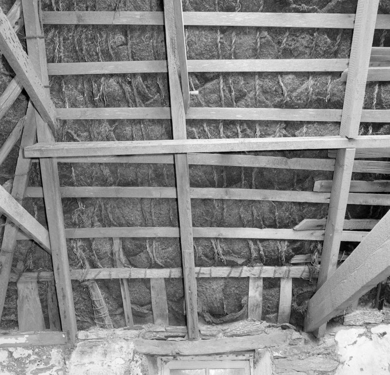 Interior: Thatched house, view of underside of roof showing purlins and rope rafters