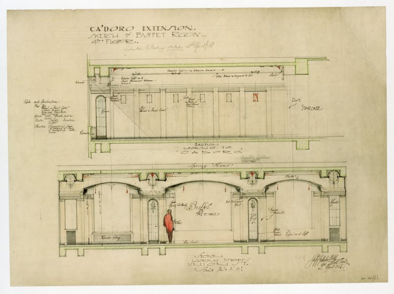 Extension to Ca d'Oro Building.   Photographic copy of details of fourth floor buffet room.