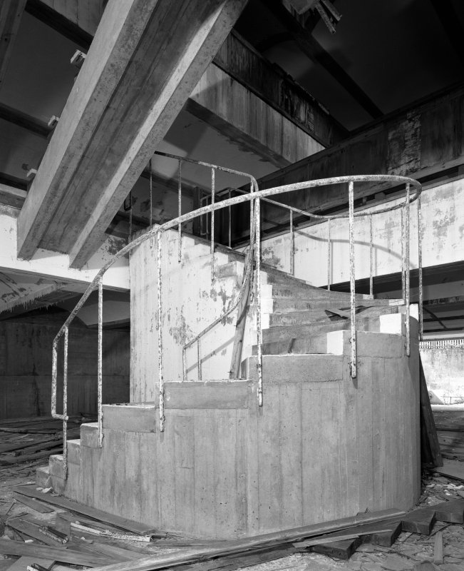 Main Block, view of central staircase at basement level