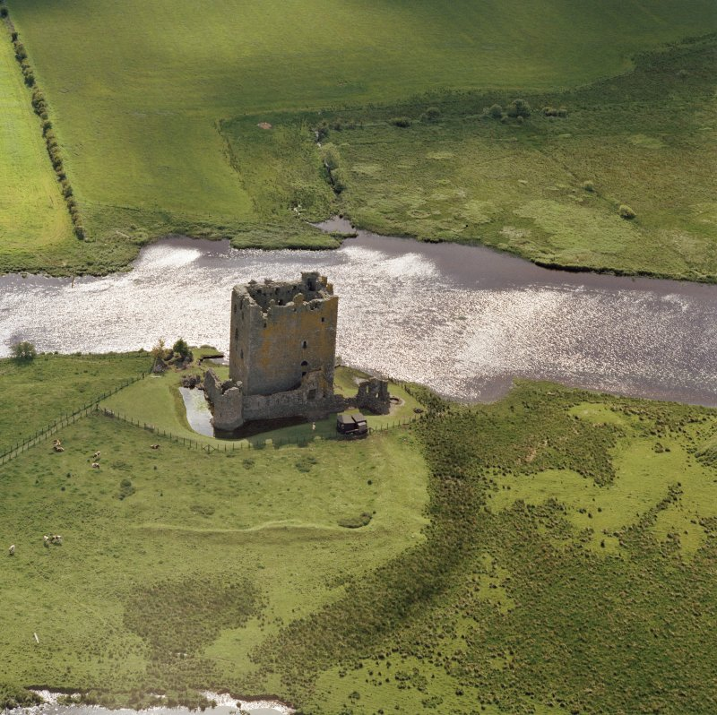 Oblique aerial view of Threave Castle.