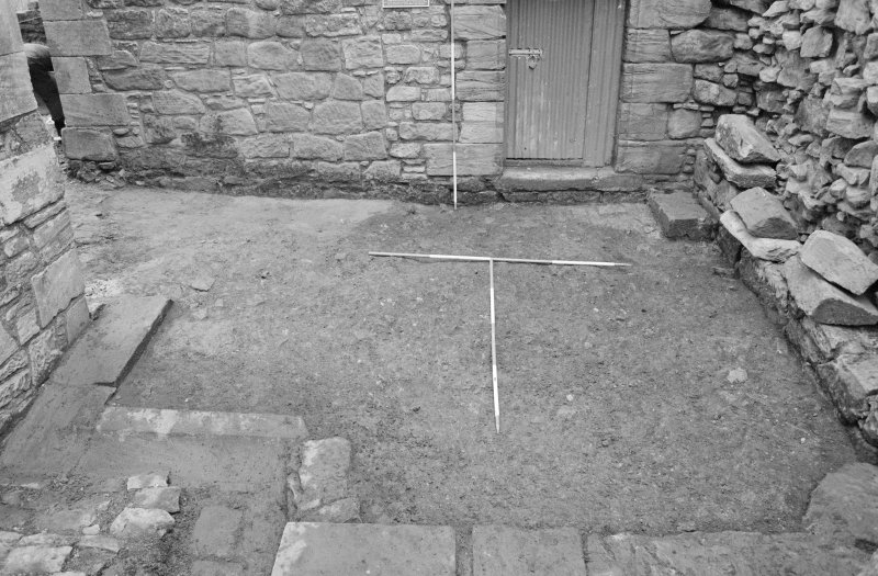Craignethan Castle Excavations 1993-1995 Frame 20 - Area to west of south-east tower after removal of concrete - from west