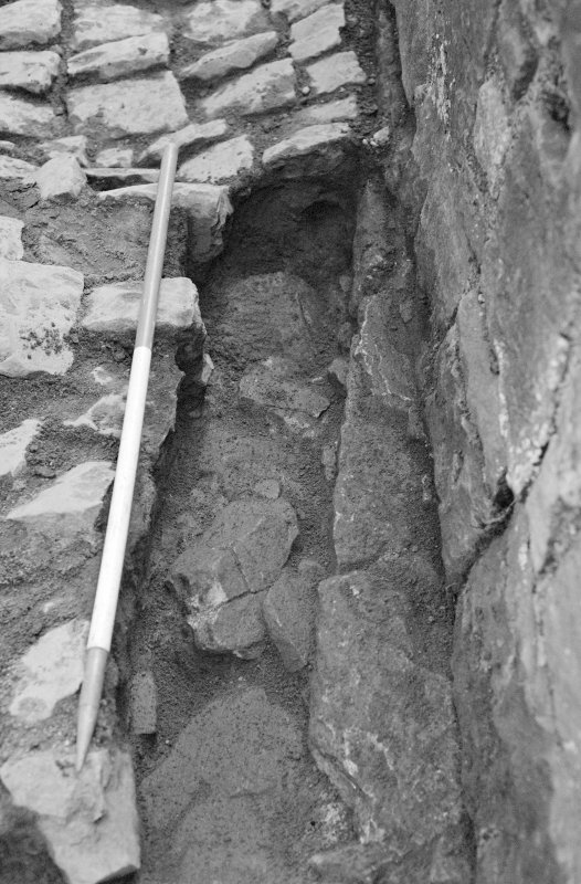 Craignethan Castle Excavations 1993-1995 Frame 36 - Sondage through relaid cobbles F306 - from east