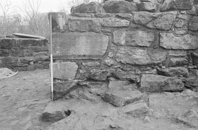 Craignethan Castle Excavations 1993-1995 Frame 12 - Wall F314 extending below corner of north-east tower - from south