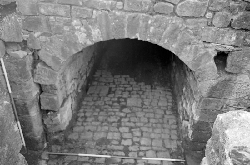 Craignethan Castle Excavations 1993-1995 Frame 16 - Entrance to passage at basement level of east range - from north
