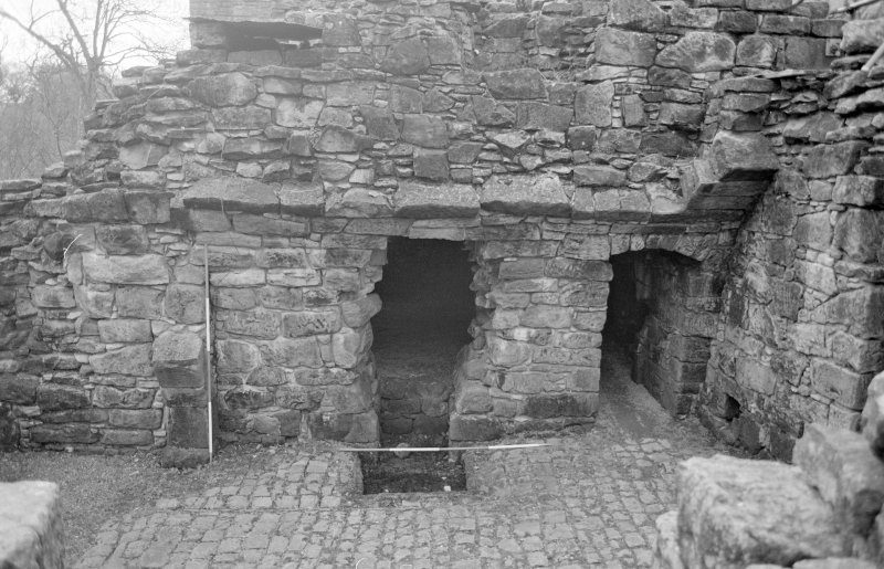 Craignethan Castle Excavations 1993-1995 Frame 19 - South wall of basement of north-east tower - from north