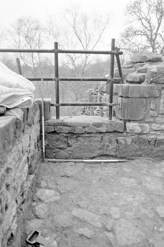 Craignethan Castle Excavations 1993-1995 Frame 20 - Doorway through west wall of first floor of north-east tower - from west