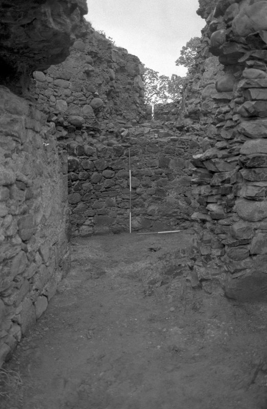 Inverlochy Castle Frame 11 - View into the southwest tower early in the excavation; from north