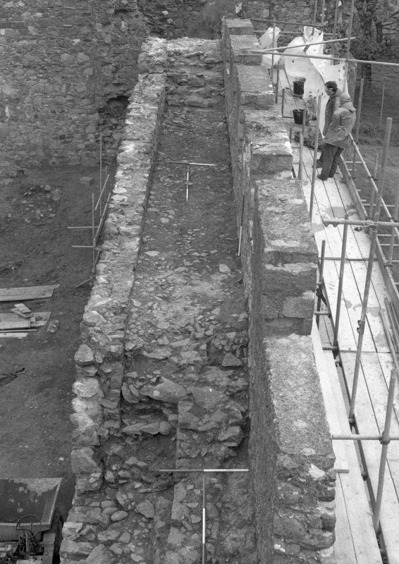 Inverlochy Castle Frame 17 - The west curtain wall after the removal of vegetation and other debris; from north