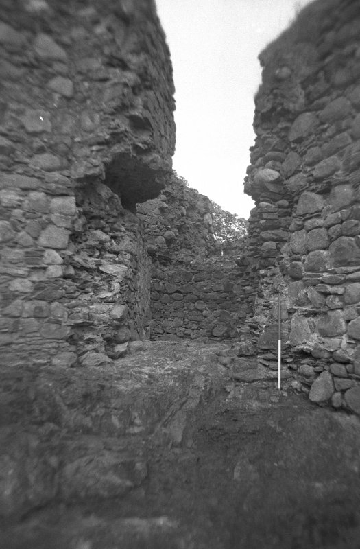 Inverlochy Castle Frame 8 - Bedrock exposed at entrance to southwest tower; from north