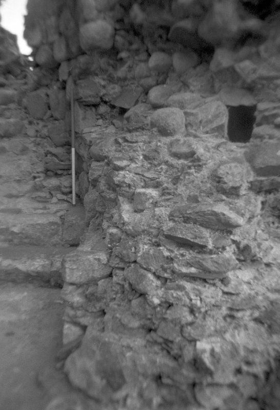 Inverlochy Castle Frame 13 - Right-hand wall at base of mural stair in southwest tower, showing beam socket