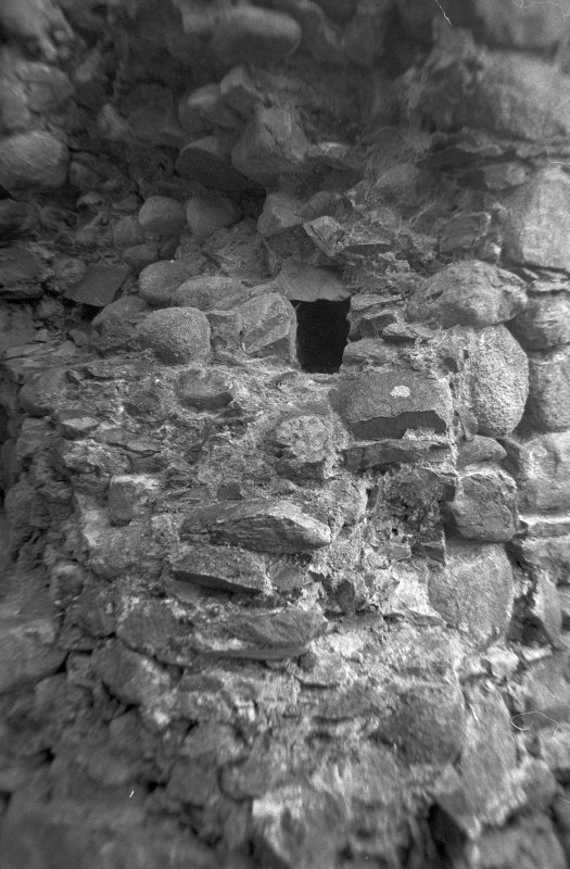 Inverlochy Castle Frame 14 - Right-hand wall at base of mural stair in southwest tower, showing beam socket