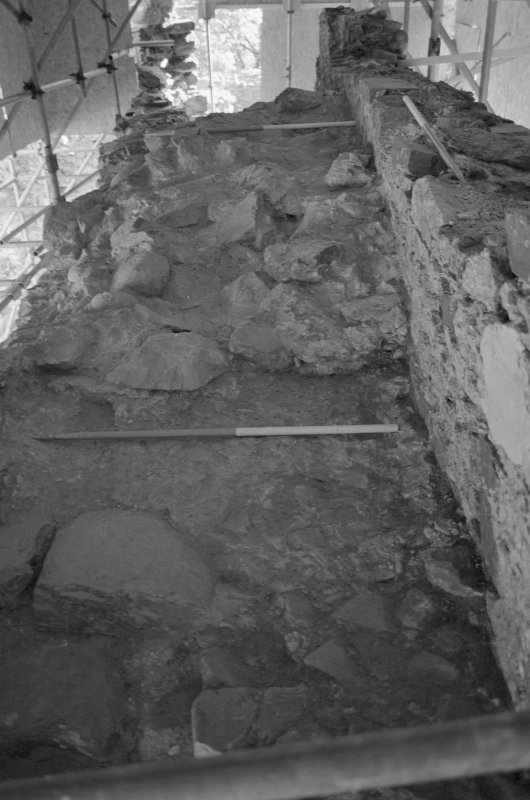 Inverlochy Castle Frame 5 - Crown of rubble masonry on wall-head; from west