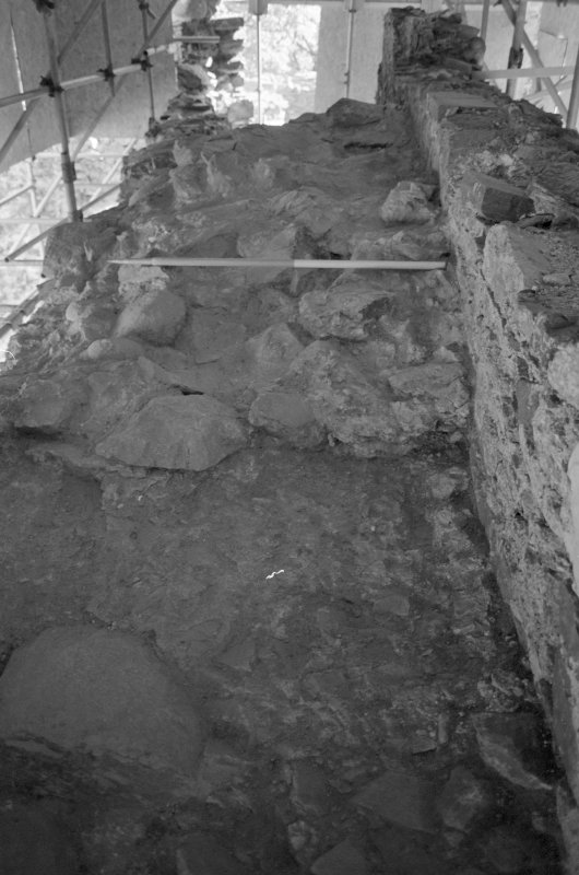 Inverlochy Castle Frame 12 - Crown of rubble masonry on wall-head; from west