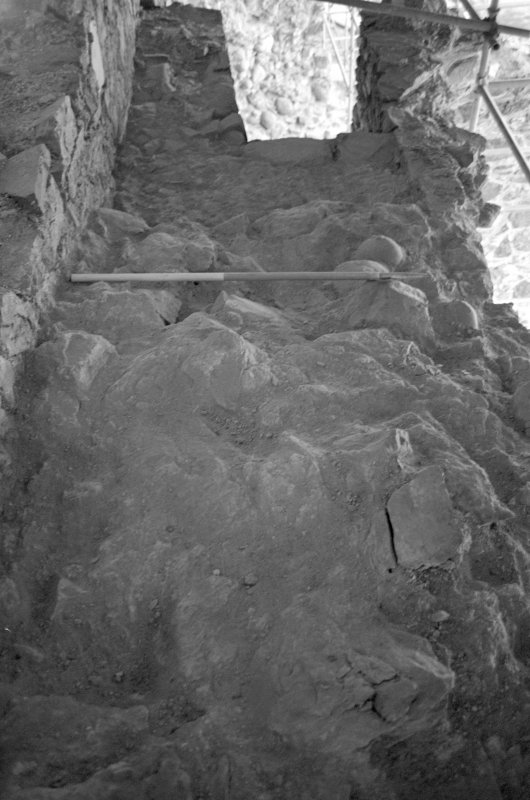 Inverlochy Castle Frame 13 - East section of wall-head on completion of excavation; from east