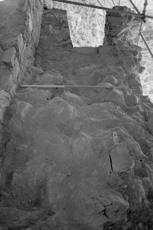 Inverlochy Castle Frame 14 - East section of wall-head on completion of excavation; from east