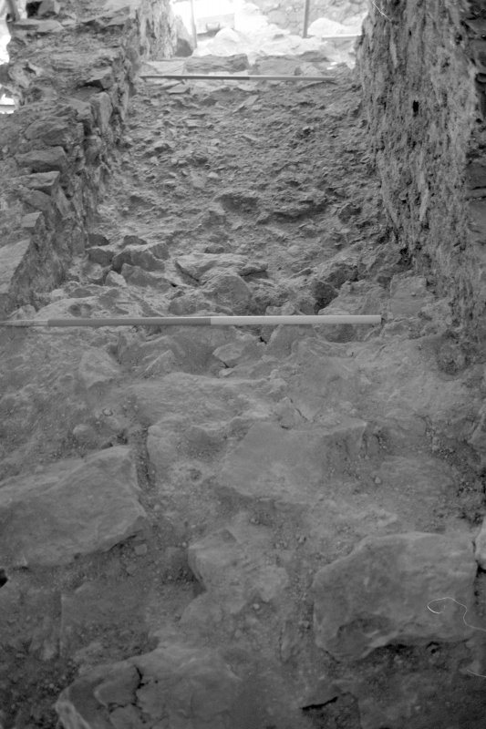 Inverlochy Castle Frame 15 - East section of wall-head on completion of excavation; from west