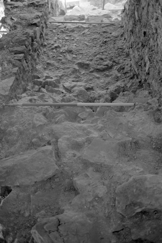 Inverlochy Castle Frame 16 - East section of wall-head on completion of excavation; from west