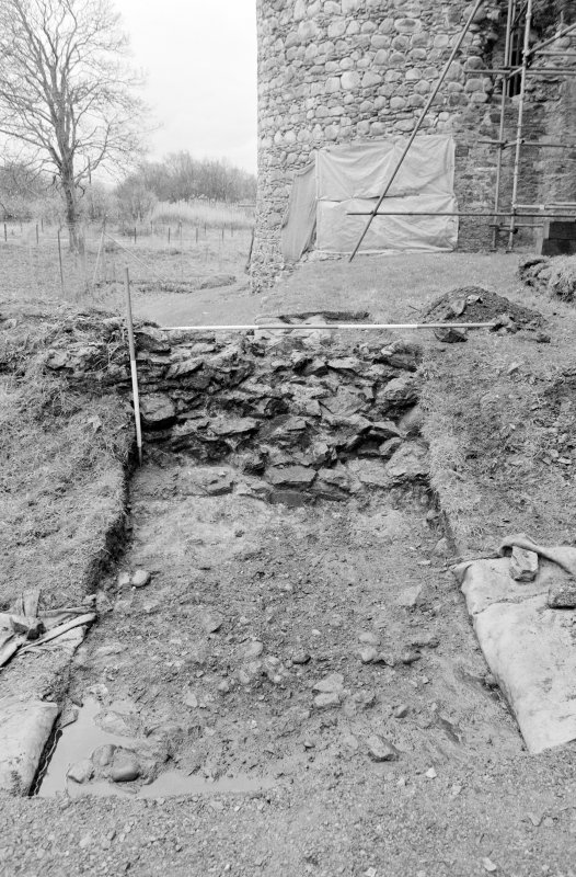 Inverlochy Castle Frame 18 - East side of Trench B excavated; from east