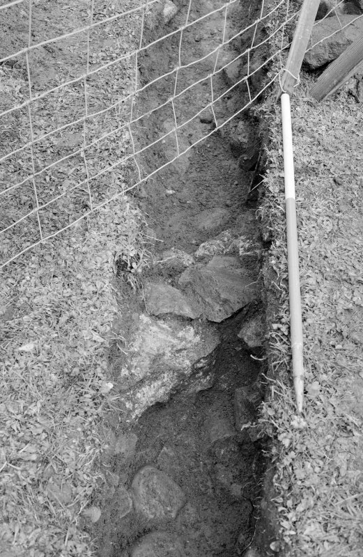 Inverlochy Castle Frame 17 - Wall F708 in drain trench; from southwest