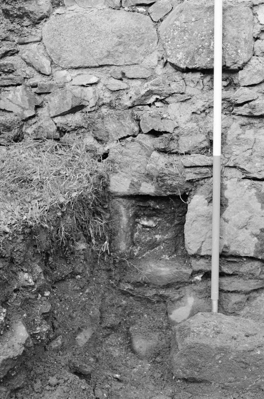 Inverlochy Castle Frame 24 - Detail of blocked drain F711; from south