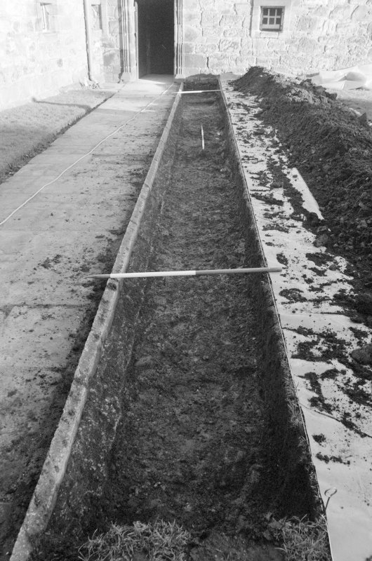 Newark Castle Frame 1 - Trench K after removal of F101, showing possible metalling F102 - from west
