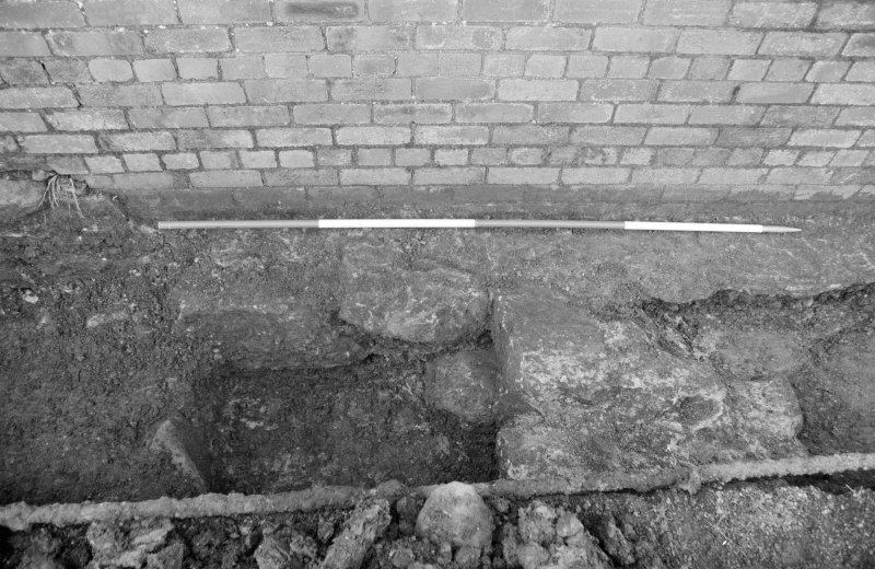 Newark Castle Frame 30 - Trench M: wall F111 and cut F112 to its south - from east