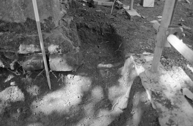 Rossdhu Castle Excavations, June and August/September 1996 Frame 18 - Trench 15, showing wall robbed out - from east