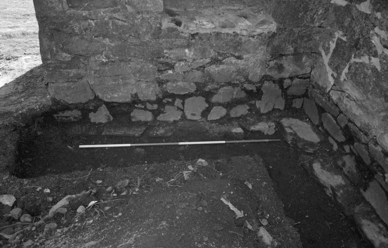 Rossdhu Castle Excavations, June and August/September 1996 Frame 14 - Trench 21: foundations of south wall of tower - from north