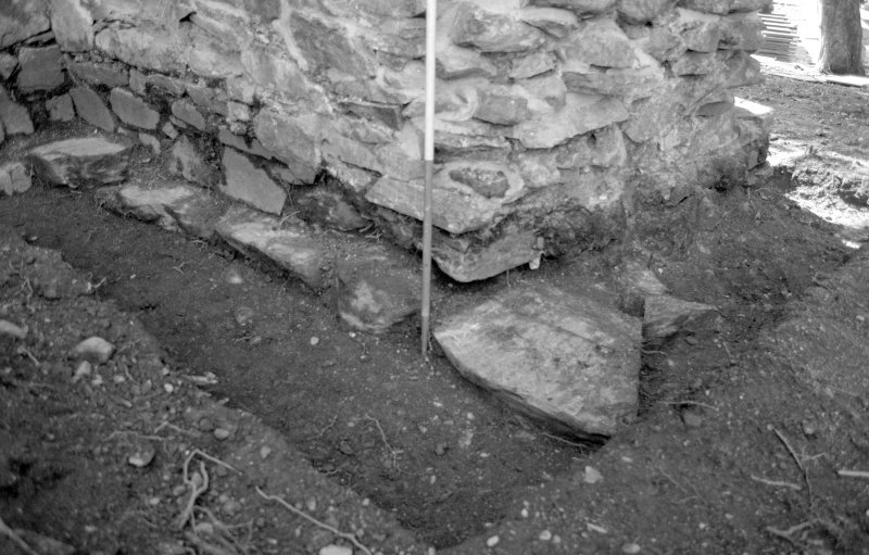 Rossdhu Castle Excavations, June and August/September 1996 Frame 16 - Trench 21: north end of west wall - from north-east