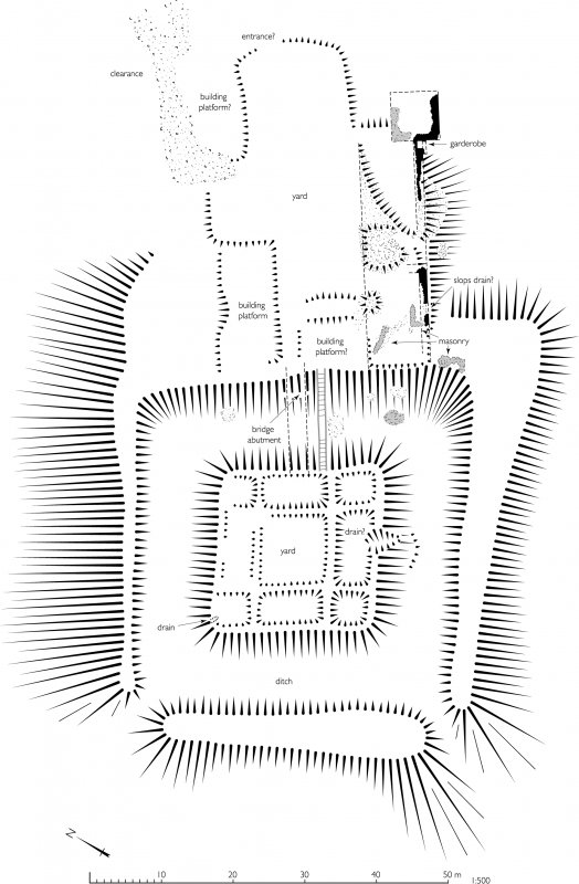 Sir John De Graham's Castle, detail plan of motte. 300dpi copy of GV006415.