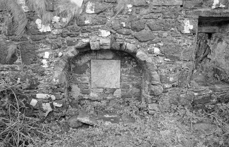 View of tomb recess in north wall, St Donnan's Church, Kildonnan, Eigg.