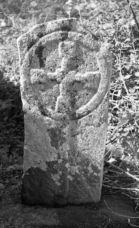 View of early Christian head stone, St Donnan's Church, Kildonnan, Eigg.