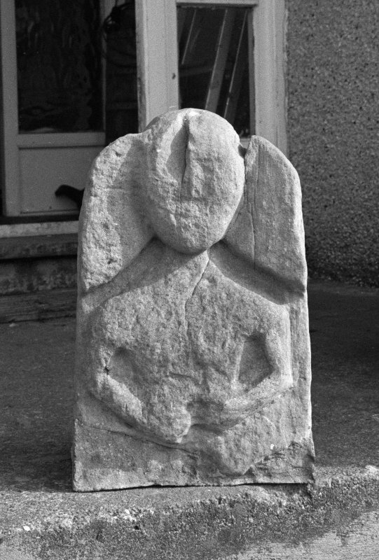 View of carved stone from St Donnan's Church, Kildonnan, Eigg, now preserved at Cleadale.