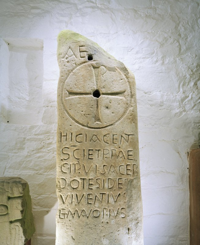 Detail of sculptured stone bearing Chi-Rho and inscription commemorating the priests Ides, Viventius and Mavorius (Allen and Anderson no.1.
