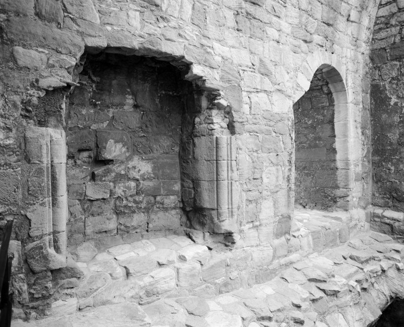 View of fireplace, Crichton Castle.