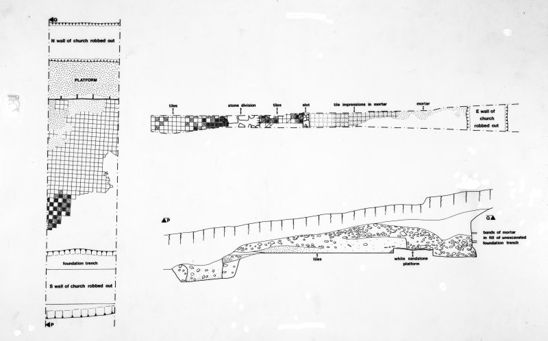 Publication negative: version of publication illustration fig.3 - plan of east end of church and tile floor. (negative only)