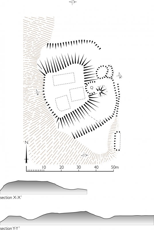 Invershin Castle, plan and sections. 300dpi copy of GV006422.